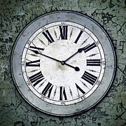 Weathered Prints - Grungy Clock Print by Carlos Caetano
