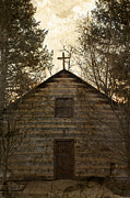 University Of Notre Dame Photos - Grungy Hand Hewn Log Chapel by John Stephens