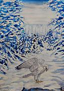 Winter Scenes Pastels - Gryfalcon in Taos by George Chacon