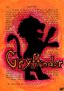 Bright Colors Drawings Metal Prints - Gryffindor Lion Metal Print by Jera Sky