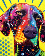 Stencil Prints - GSP German Shorthair Pointer Print by Dean Russo
