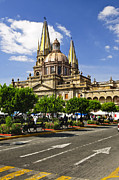 Old Street Metal Prints - Guadalajara Cathedral Metal Print by Elena Elisseeva