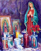 Virgin Mary Pastels Framed Prints - Guadalupe y Las Velas candles Framed Print by Candy Mayer
