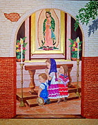 Evangelina Portillo Framed Prints - Guadalupe y ninos Framed Print by Evangelina Portillo