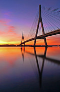 Sunset Reflection Prints - Guadiana Bridge Over Sunset Print by Juampiter