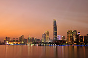 Financial  District Prints - Guangzhou At Dusk Time, Guangdong, China Print by Huang Xin