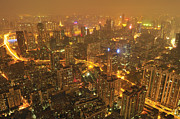 Aerial Posters - Guangzhou Skyline At Night Poster by Huang Xin