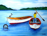 Puerto Rico Painting Metal Prints - Guanica Fisherman Metal Print by Gloria E Barreto-Rodriguez