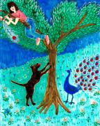 Tree Ceramics Posters - Guard dog and guard peacock  Poster by Sushila Burgess