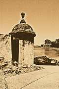 Puerto Rico Digital Art Prints - Guard Post Castillo San Felipe Del Morro San Juan Puerto Rico Rustic Print by Shawn OBrien