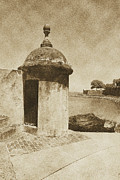 Puerto Rico Digital Art Prints - Guard Post Castillo San Felipe Del Morro San Juan Puerto Rico Vintage Print by Shawn OBrien