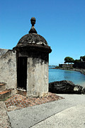 Puerto Rico Digital Art Prints - Guard Post Castillo San Felipe Del Morro San Juan Puerto Rico Watercolor Print by Shawn OBrien