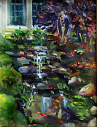 Koi Painting Posters - Guardian Angel and Koi Pond Poster by Mitzi Lai