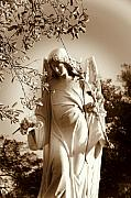 White Photos - Guardian Angel BW by Susanne Van Hulst