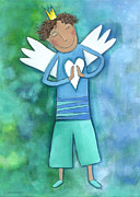 Purple Heart Painting Posters - Guardian Angel for Boys Poster by Sonja Mengkowski