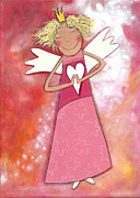 Purple Heart Painting Posters - Guardian Angel for Girls Poster by Sonja Mengkowski