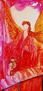 Angel Blues  Painting Prints - Guardian Angel Print by Joyce Auteri