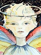 Bible Drawings Metal Prints - Guardian Angel Metal Print by Mindy Newman