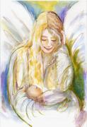 Guardian Angel Paintings - Guardian Angel with Baby by Sylvia Pimental
