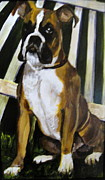 Boxer Paintings - Guardian at the Gate by Edith Hunsberger
