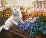 Kitten Painting Prints - Guardian of the Greenhouse Print by Evie Cook