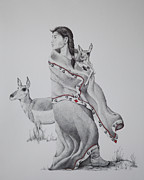 Native American Drawings Posters - Guardian of the Herd Poster by Tracy L Teeter