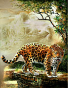 Jaguar Paintings - Guardian of the Machu Picchu Peru by Gina Femrite