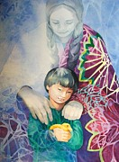 Abstract Mother And Child Paintings - Guardian Spirit by Judith A Smothers