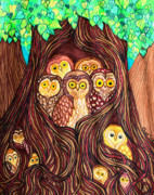 Owls Mixed Media - Guardians of the Forest by Nick Gustafson
