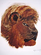 Lion Oil Paintings - Guarding Lion by Kylani Arrington