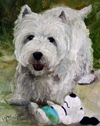 Westie Puppies Prints - Guarding Snoopy Print by Mary Sparrow Smith