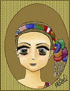 Hairstyle Digital Art Framed Prints - Guatemalan Costume Santo Tomas la Union Framed Print by Heizel Gonzalez