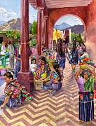 Marketplace Painting Framed Prints - Guatemalan Marketplace Framed Print by Anne Gifford