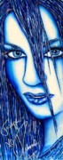 Autographed Mixed Media Posters - Guess U Like Me in Blue Poster by Joseph Lawrence Vasile