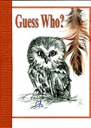 Original Owl Drawing Prints - Guess Who Print by Carol Allen Anfinsen