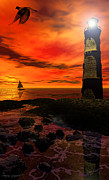 Lighthouse Digital Art - Guiding Light by Lourry Legarde