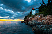 Bass Head Lighthouse Posters - Guiding Light of Acadia Poster by Bernard Chen