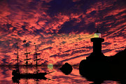 Lighthouse Sunset Prints - Guiding The Way Print by Shane Bechler