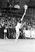 Tennis Game Framed Prints - Guillermo Vilas Serves Framed Print by Jan Faul