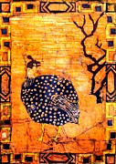 Carolinestreet Posters - Guinea Fowl Batik Poster by Caroline Street