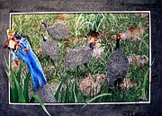 Cards Tapestries - Textiles - Guinea Fowl in Guinea Grass by Sylvie Heasman