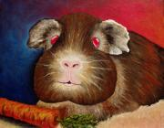 Pet Pig Prints - Guinea Pig Portrait Print by Nancy Mueller