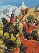 Gouache Paintings - Guiseppe Garibaldi and his army in the battle with the Neopolitan Royal troops by Andrew Howat