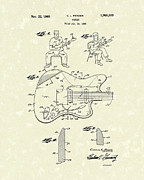 1960 Drawings Posters - Guitar 1960 Patent Art Poster by Prior Art Design