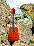 Head Stones Digital Art Posters - Guitar By The Sea Poster by Jason Abando