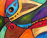 Parrot Art Mixed Media - Guitar Curves Panel I by Darlene Keeffe