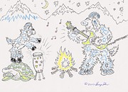 Childrens Art Drawings - Guitar Goats by George Shaw