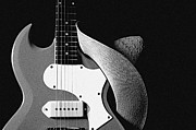 Music Prints - Guitar Hat Isolated on Black Print by M K  Miller