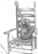 Chair Drawings Framed Prints - Guitar in a Chair Framed Print by Ashley Miller