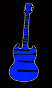1980 Digital Art Prints - Guitar in Blue Print by Lj Lambert